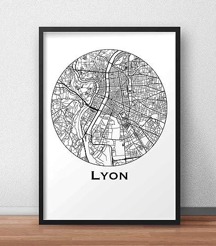 Cartel Lyon Francia Minimalista Mapa - City Map, decoración ...