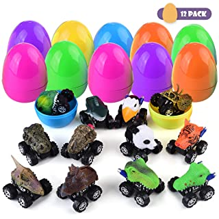 Mitcien Dinosaur Toys for 2 3 4 5 Year Old Boys Kids, Pull Back Dinosaur Cars Vehicles, Surprise Eggs Filled with Dino Toys Cars, Best Gift Presents for Boys Age 6-10(12 Pack)