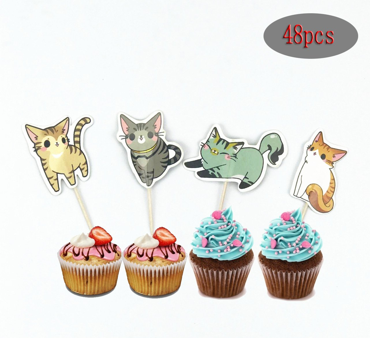 (Pack of 48)Cute Cat Cake Cupcake Toppers Picks for Wedding Birthday Baby Shower Party Decorations PalkSky