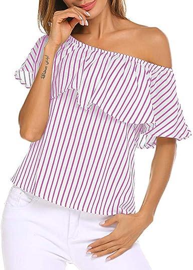 Camisetas para el Verano Mujer Fuera del Hombro Volantes ...