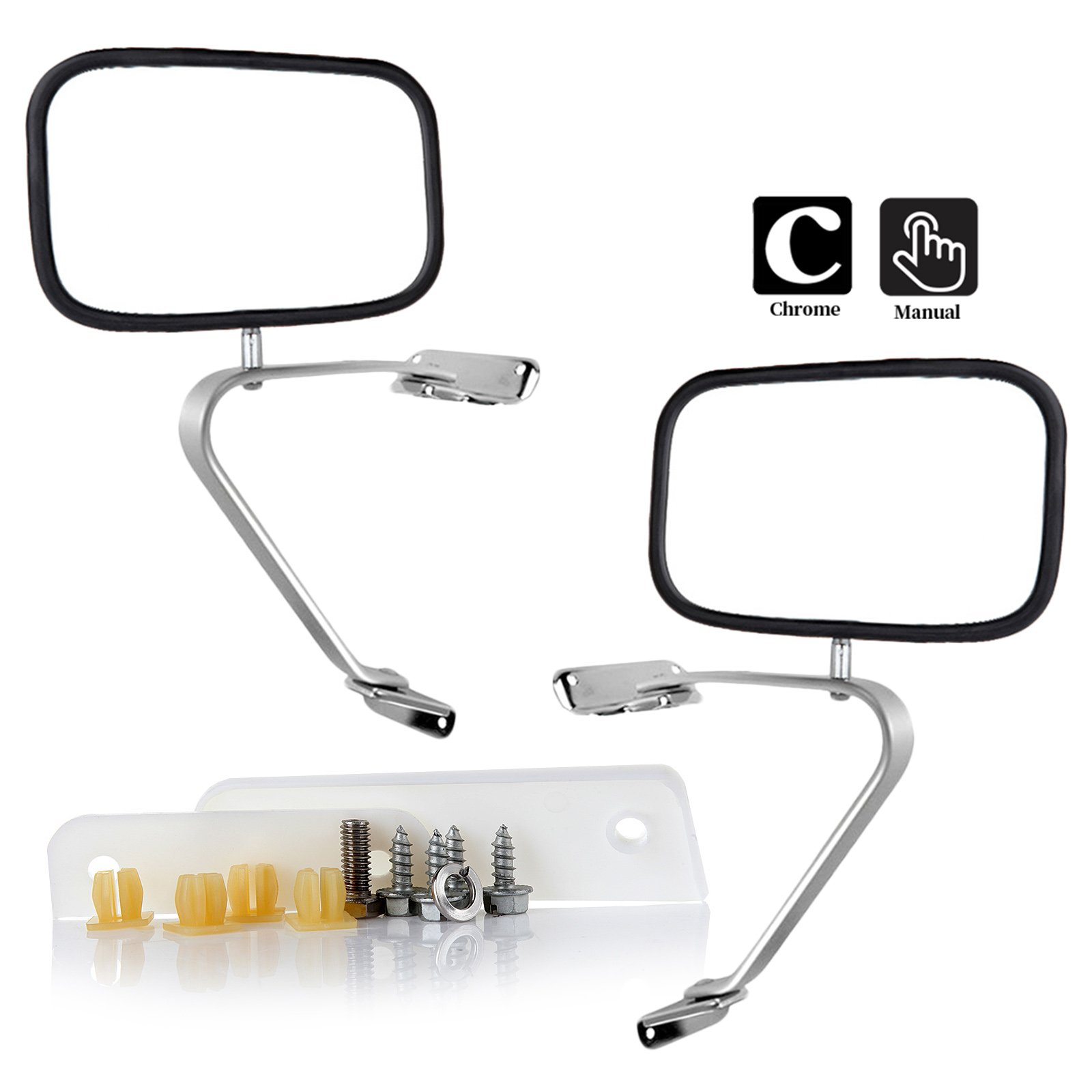 SCITOO Towing Mirrors Pair Chrome Side View Mirror by Replacement Mirror fit 80-96 Ford F150 F250 F350 F450 Ranger Bronco Explorer Truck Pickup