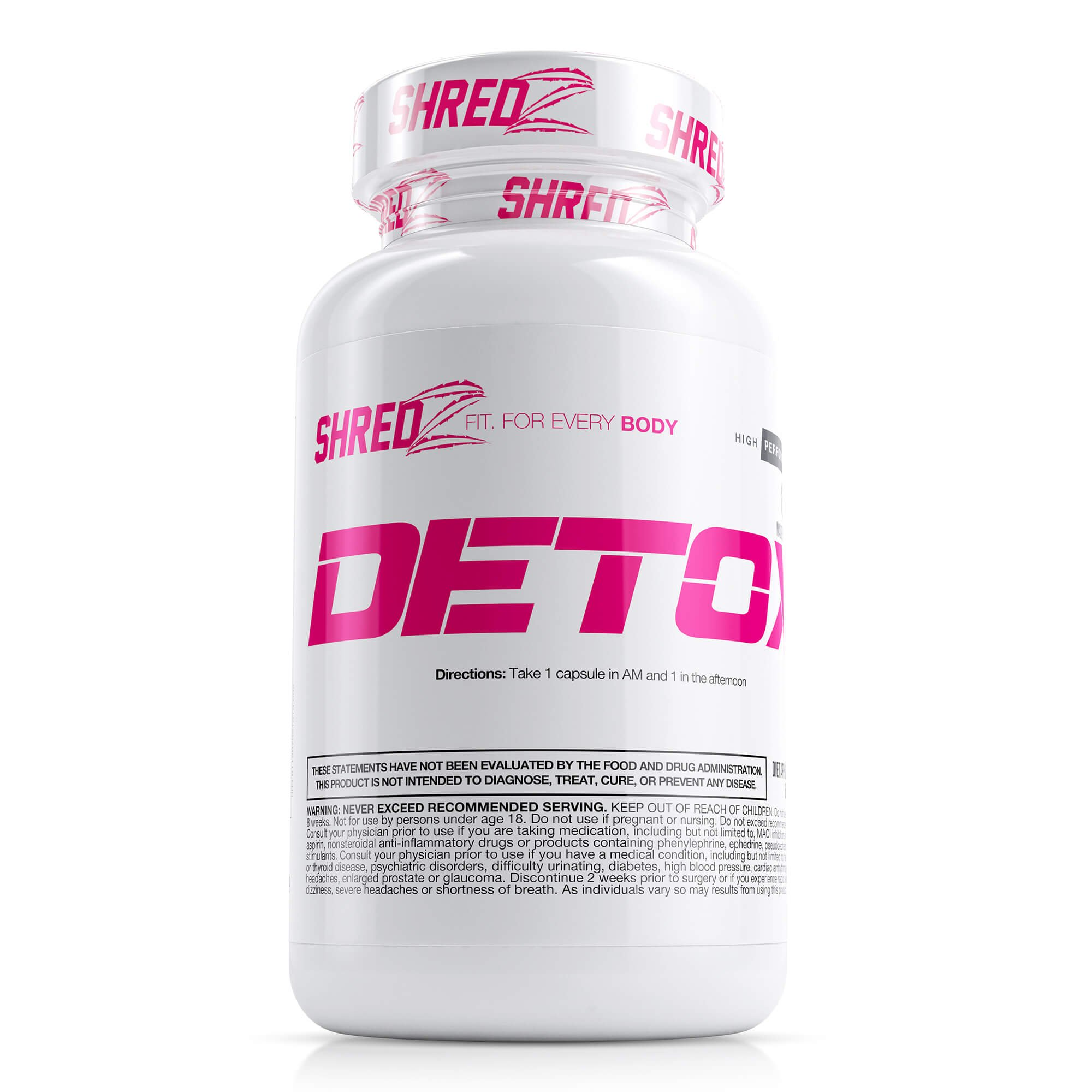 SHREDZ Detox Supplement Pills Made for Women, Essential Vitamins, Promotes Weight Loss, Cleanses System (1 Month Supply)