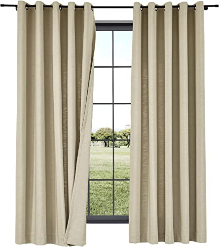 TWOPAGES 2 Panels Cotton Linen Curtain Drapery Decorative Curtain