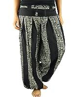 pantalones cagados largos virblatt talla única con entrepierna alta para mujeres, S - L blumer con patrones de Yoga, ropa hippie - Friedvoll