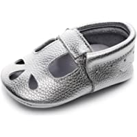 HONGTEYA Baby Girls Boys Shoes Mary Jane Sandals Soft Sole T-Strap Leather Baby Moccasins Toddler Shoes