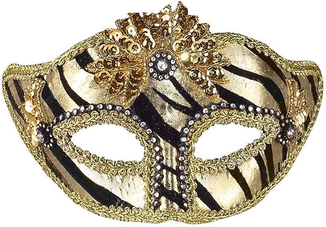 Gold Pirate Face Half Masquerade Venetian Eye Mask with Headband Costume