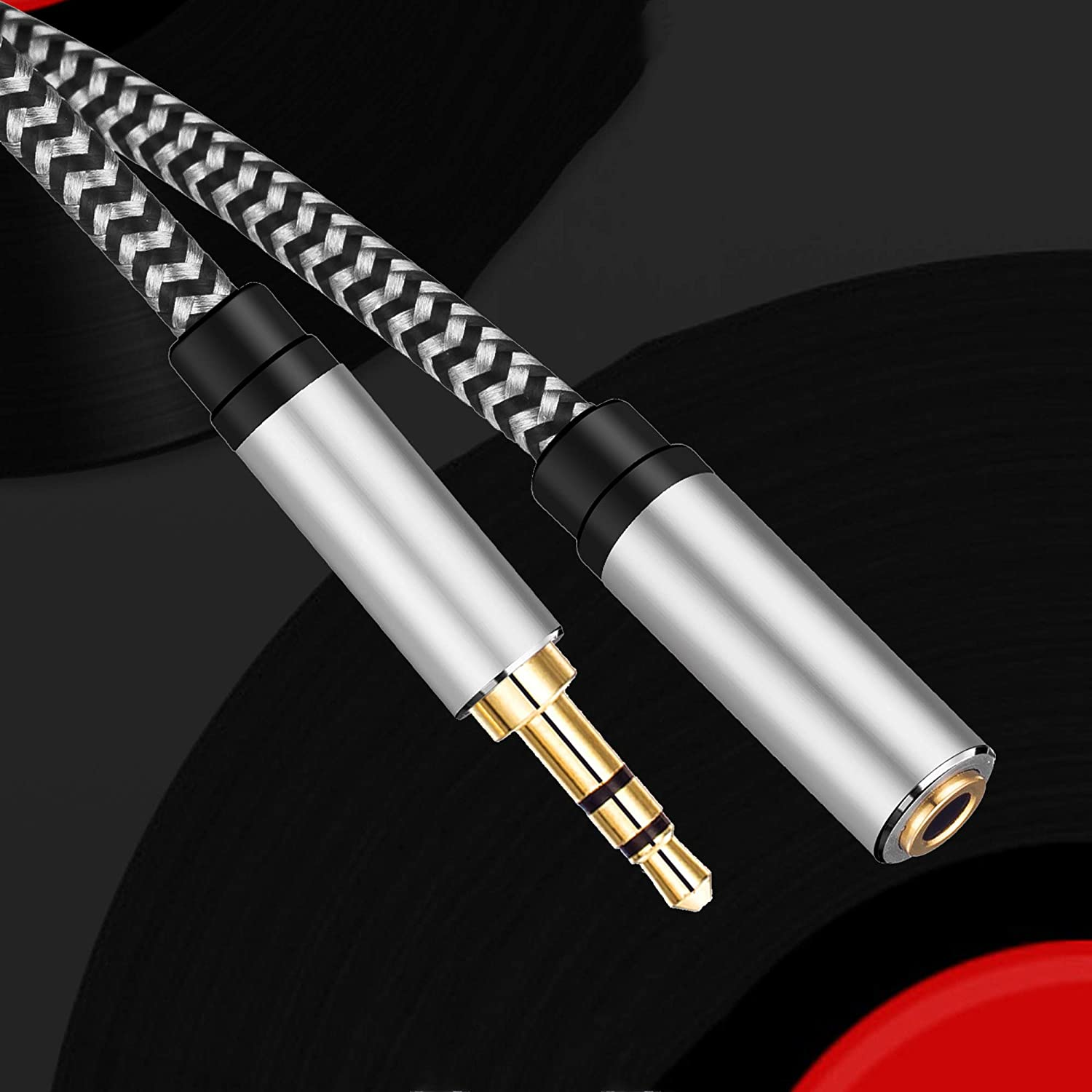 PC Morelecs Aux Extension Cord 12ft,3.5mm 1//8 Aux Stereo Audio Cable Male to Female Stereo Audio Extension Adapter Cable Nylon Braided Male to Female AUX Cord Compatible Phones Headphones,Speakers
