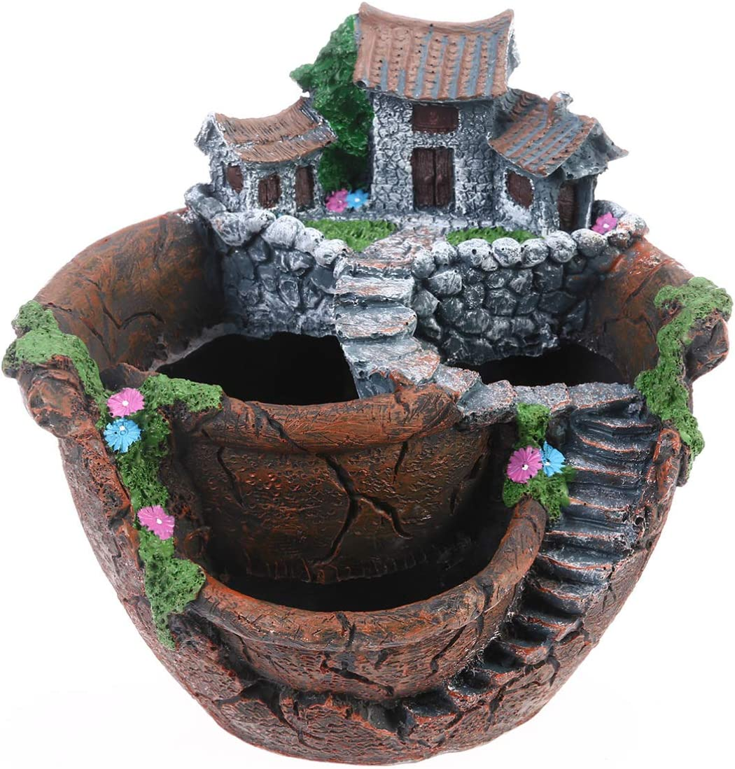 Yardwe Artificial Flowers Succulent Plants Pot, Micro Landscape Fairy Garden Pot with Sweet House, Creative Flower Pot Holders Hanging Garden Design