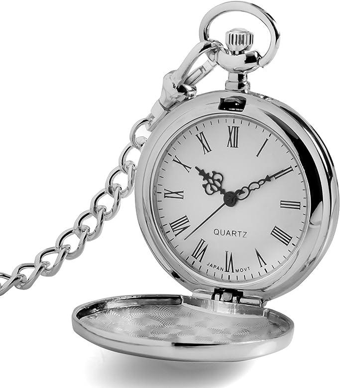 Reloj de bolsillo masculino con cadena de chaleco, de la marca Silver2Love En caja de regalo.: Amazon.es: Relojes