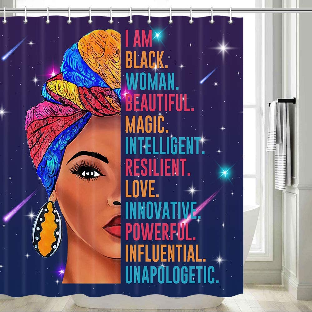 Black Woman Afro American Shower Curtain, Black Woman with Funny Quote Afro Girl African Black Girl Shower Curtain, Black Woman Bathroom Decor, Hooks Included, 70 in
