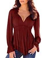 SUNNOW Women's V-Neck Long Sleeve Casual Loose T-shirt Blouse Top