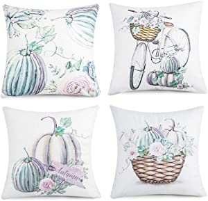 Joyhalo Fall Pillow Covers Farmhouse Throw Pillow Covers Cushion Case for Sofa Couch 18 x 18 Inches Cotton Linen Set of 4