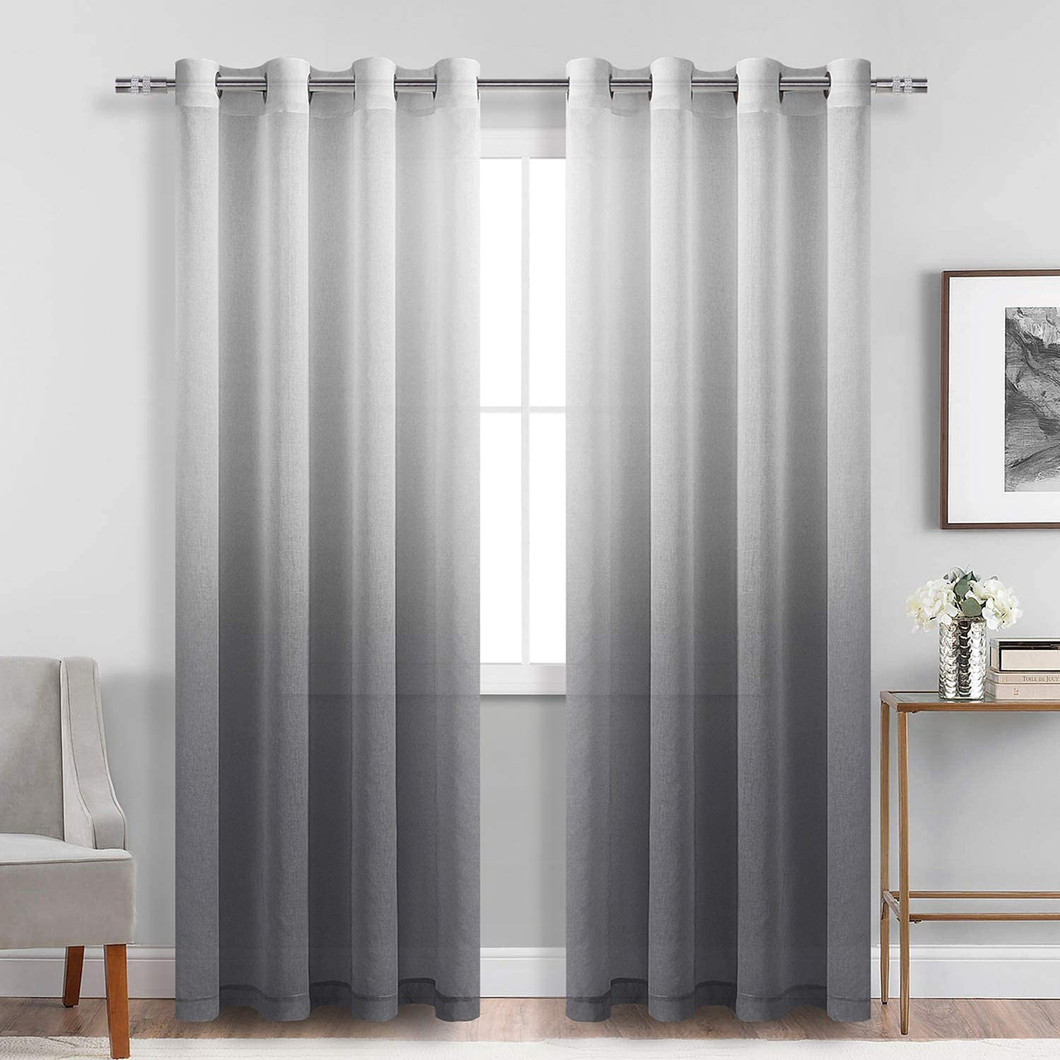 Dwcn Faux Linen Grey Ombre Sheer Curtains Gradient Semi Voile Grommet Top Window Curtains For Bedroom And Living Room Set Of 2 Panels 52 X 84 Inches Long Amazon Co Uk Kitchen Home