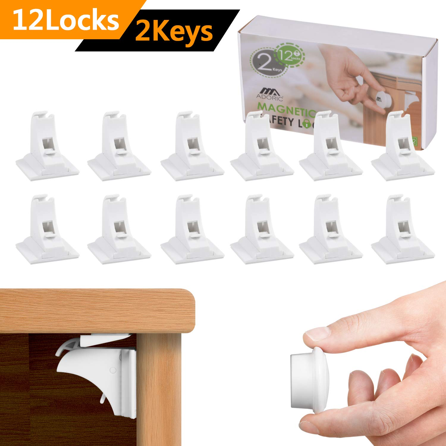 Magnetic Baby Proofing Safety Locks - 12 Locks with 2 Keys - 3M ADHESIVE Cabinet Drawer Baby Safety Cabinet Locks - No Drilling or Screws Needed - White