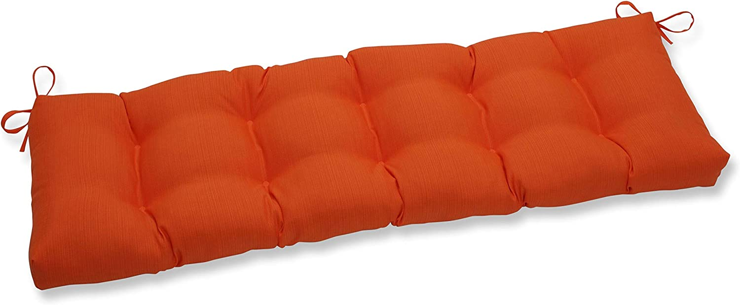 "Pillow Perfect Outdoor/Indoor Sundeck Tufted Bench/Swing Cushion, 60"" x 18"", Orange"