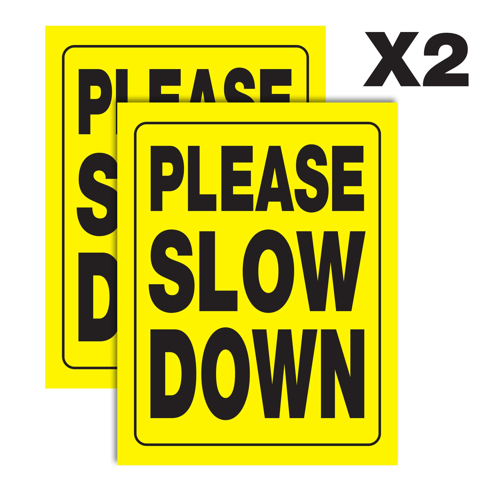 Accelerated Intelligence Inc. Please Slow Down Yellow Yard Sign | Double-Sided Black on Yellow Safety Slow Down Signs for Sidewalks, Yards and Driveways 18'' x 24'' (2 Pack)