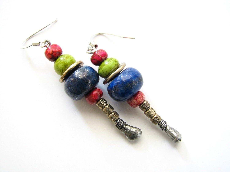 Red Jasper Blue Lapis Dangle Earrings Drop Long Beaded Handmade Semi Precious Stone Beads Genuine Gemstone Jewelry