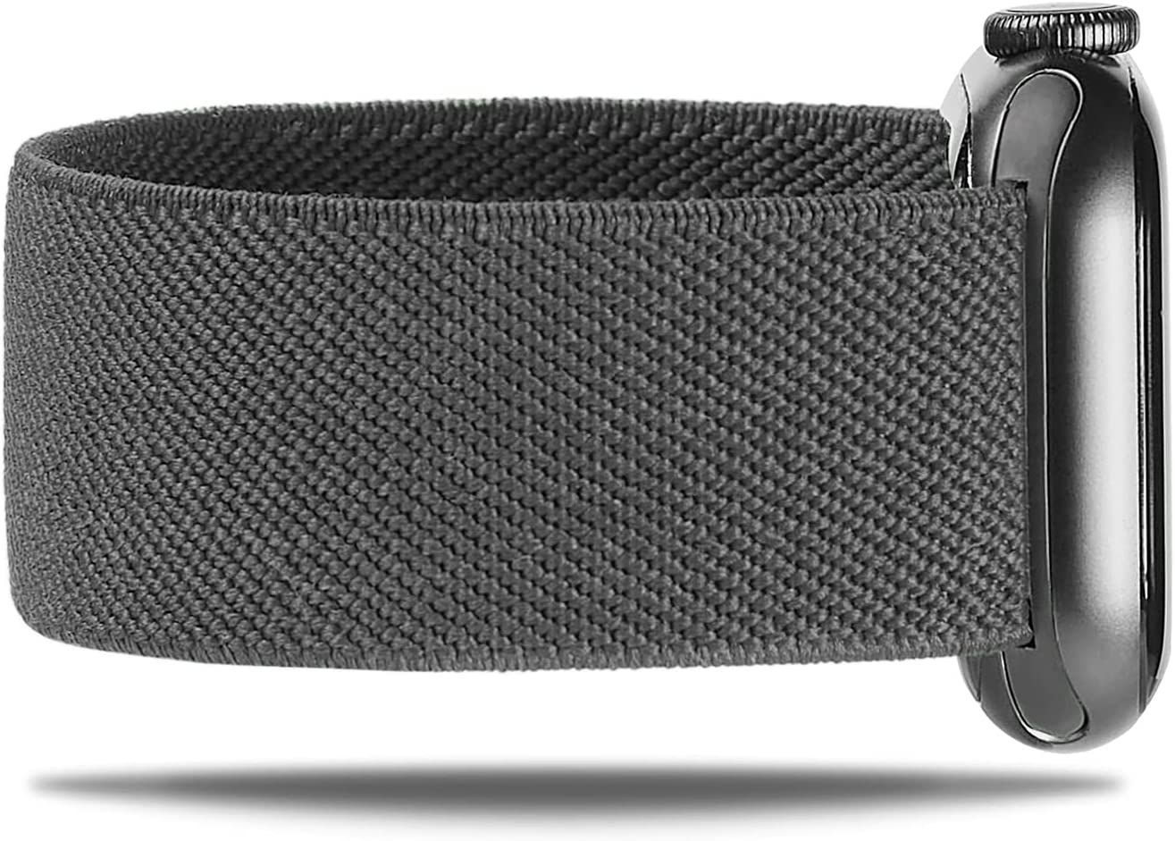 NOLIKO Compatible with Apple Watch Band 44mm 42mm 40mm 38mm Women Men Elastic Stretchy Sport Braided Scrunchie Cute Nylon Solo Loop Strap Wristband for iWatch Series 6 5 4 3 SE, Dark Grey, 38/40, L