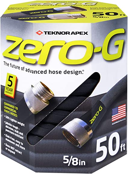 zero-G 4001-50 Lightweight, Ultra Flexible, Durable, Kink-Free Garden Hose, 5/8-Inch by 50-Feet,Black