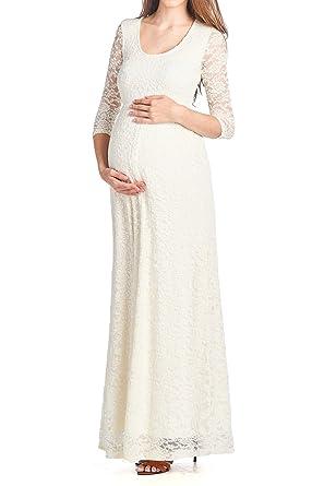 af0353300a Beachcoco Women s Maternity 3 4 Sleeve Long Length Lace Dress Made ...