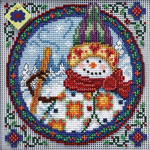 Mill Hill Jim Shore Northern Snowman Counted Cross Stitch Kit, 5-Inch x 5-Inch