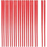 Water & Wood Home Kitchen Tableware Red Plastic Tapered Chopsticks 10 Pairs