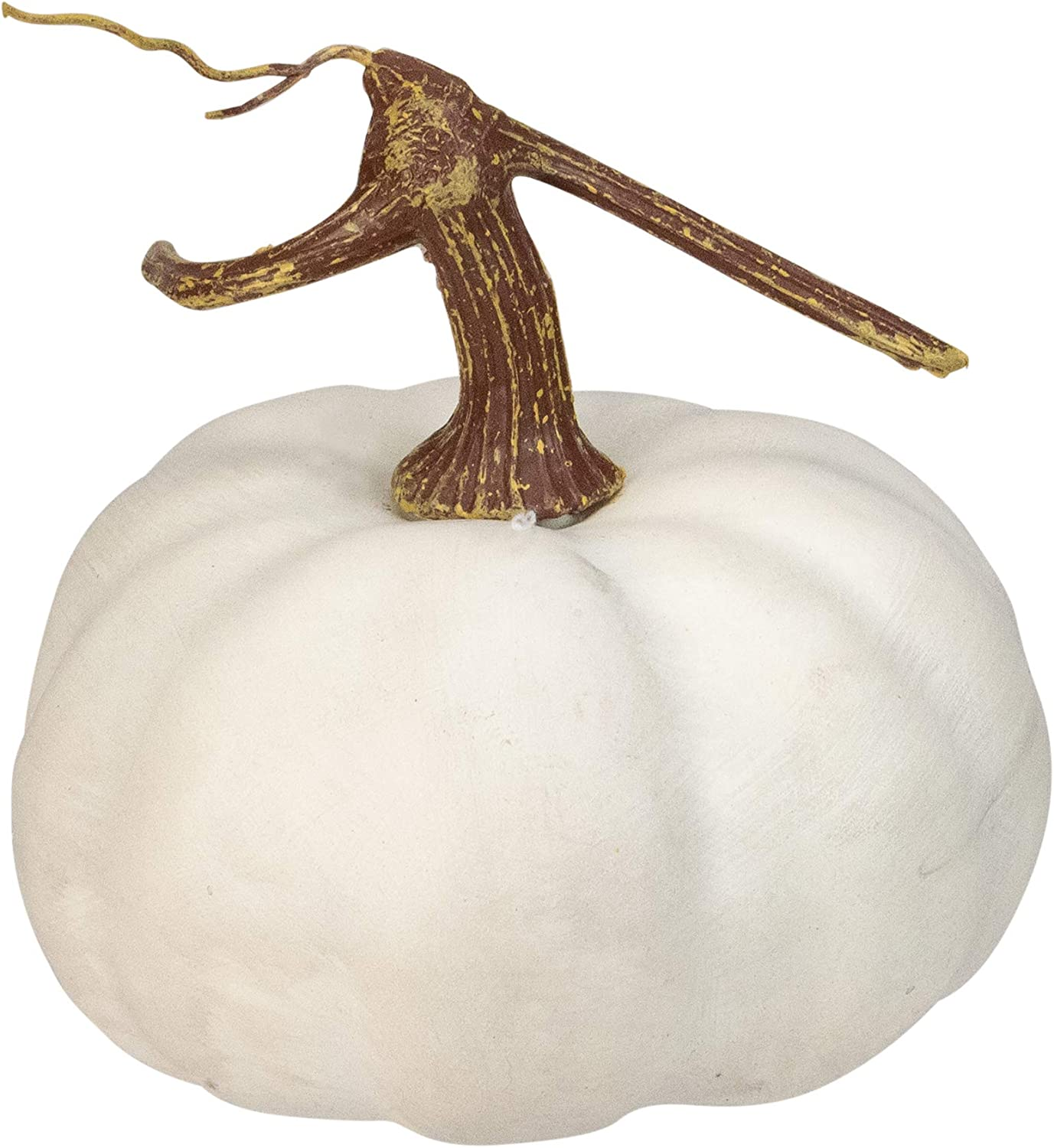 """Northlight 6.5/"""" White Flat Round Pumpkin Fall Harvest Table Top Decoration"""