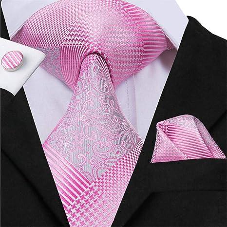 HYCZJH Nektie para Hombre, Estilo de Moda de Seda de Color Rosa ...