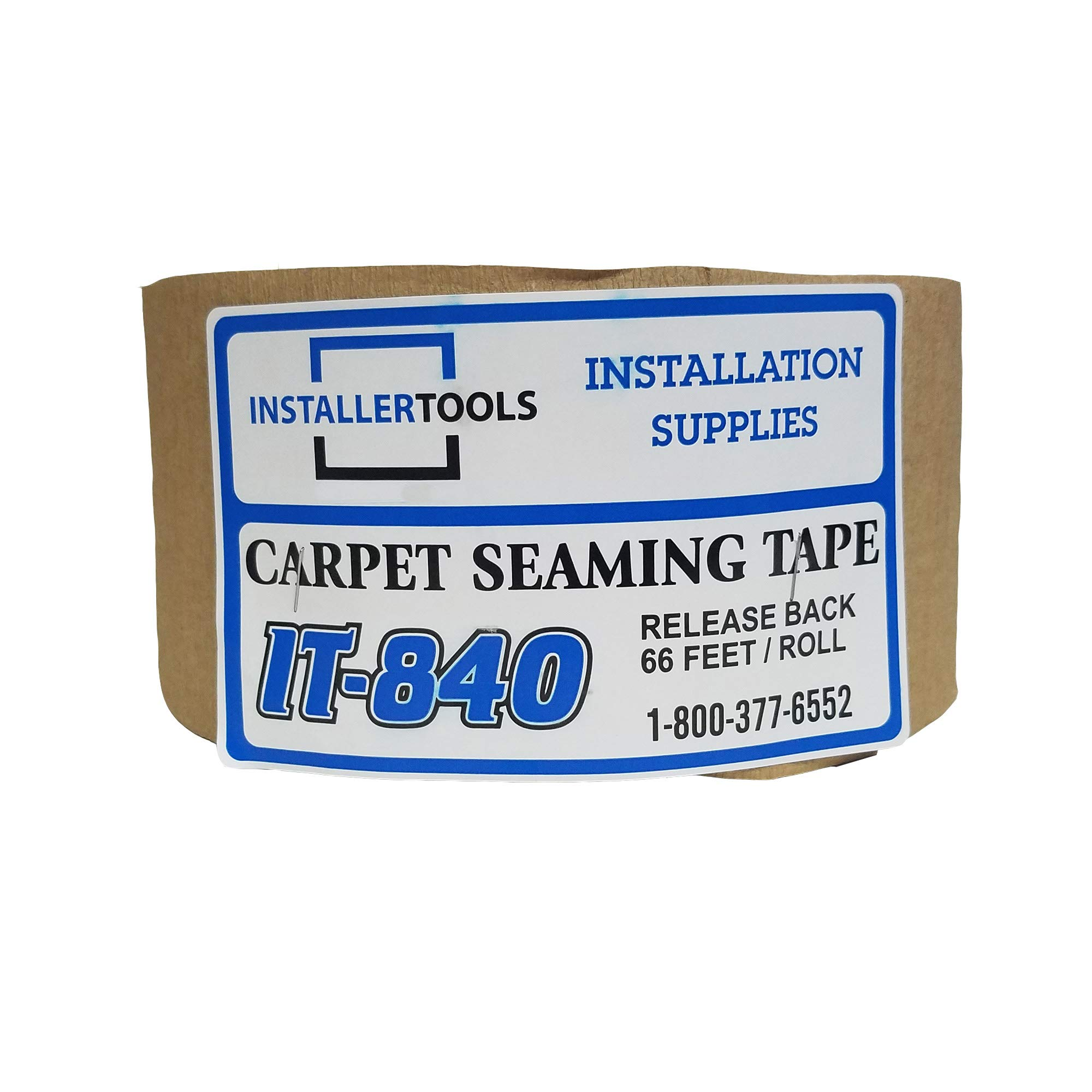 Release Back IT-840 Carpet Seam Tape w/Wide Center Adhesive Band - 4'' Wide x 66' Long Roll