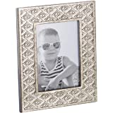Dublin 5 X 7 Picture Frame - Table Desktop Photo Frame Display with Glass Front & Easel Back, Decorative Decals for Living Room - Gift Idea for Grandma, Grandpa, Mom, Dad (Brushed Silver)
