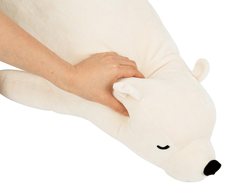 Livheart Premium Nemu Nemu Sleepy head Animals Body Pillow White Plush Polar Bear 'Lucky' size M (21''x9.5''x5.5'') Japan import 28976-11 Huggable Super Soft Stuffed Toy by Livheart (Image #2)