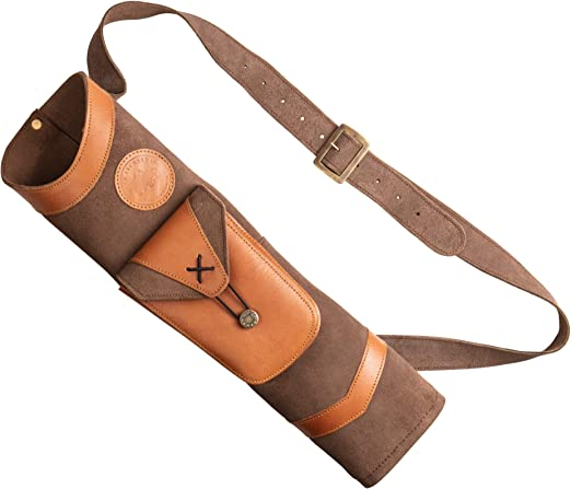 Jaxonn home Archery Quiver,Traditional Shoulder Back Quiver Bow Leather Arrow Holder Pouch Handmade