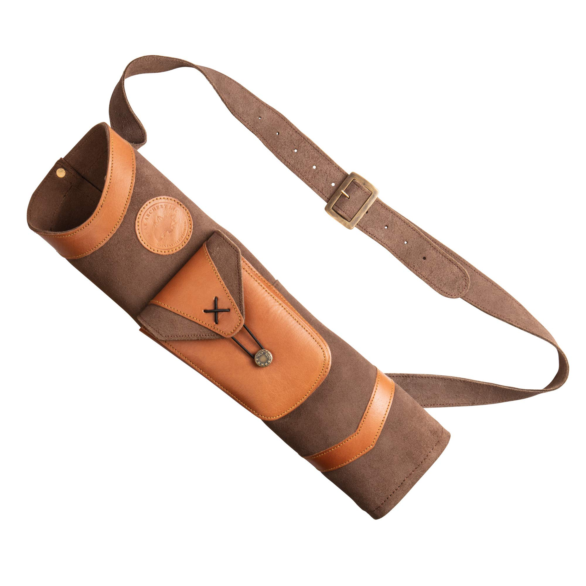 Bear Archery Superlite Traditional Shoulder Back Leather Arrow Quiver with Large Pouch, Brown, One Size (AT100BQ)