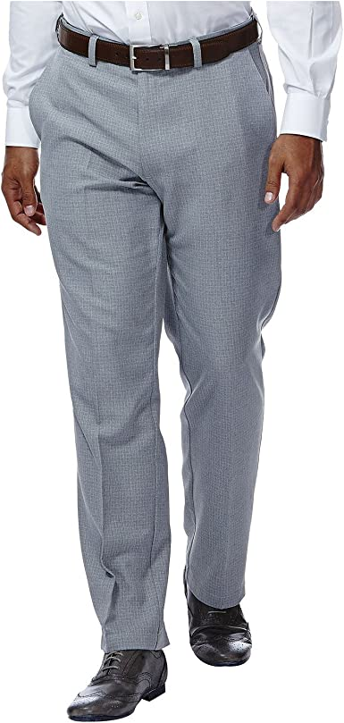 Haggar Mens Cool 18 Expandable Waist Classic Fit Pant