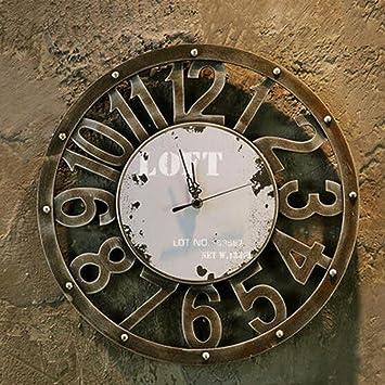 Reloj De Pared Vintage Industrial Viento Metal Reloj De Pared Reloj Digital Reloj De Imitación De Artes Creativas Decoraciones De Salon De Madera,D: ...