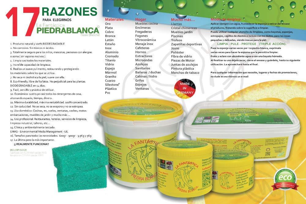 LA PIEDRA BLANCA (4 TARROS DE ARCILLA BLANCA + 4 ESPONJAS)