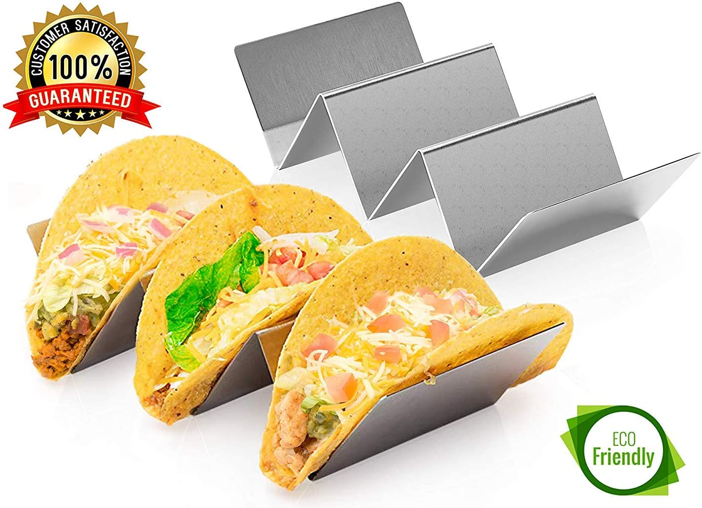 Taco Holder Stand Set - 2 Pack Stainless Steel Taco Rack Tray Taco Party Serving Trays Safe for Oven, Dishwasher and Grill, Hold Up to 3 Tacos