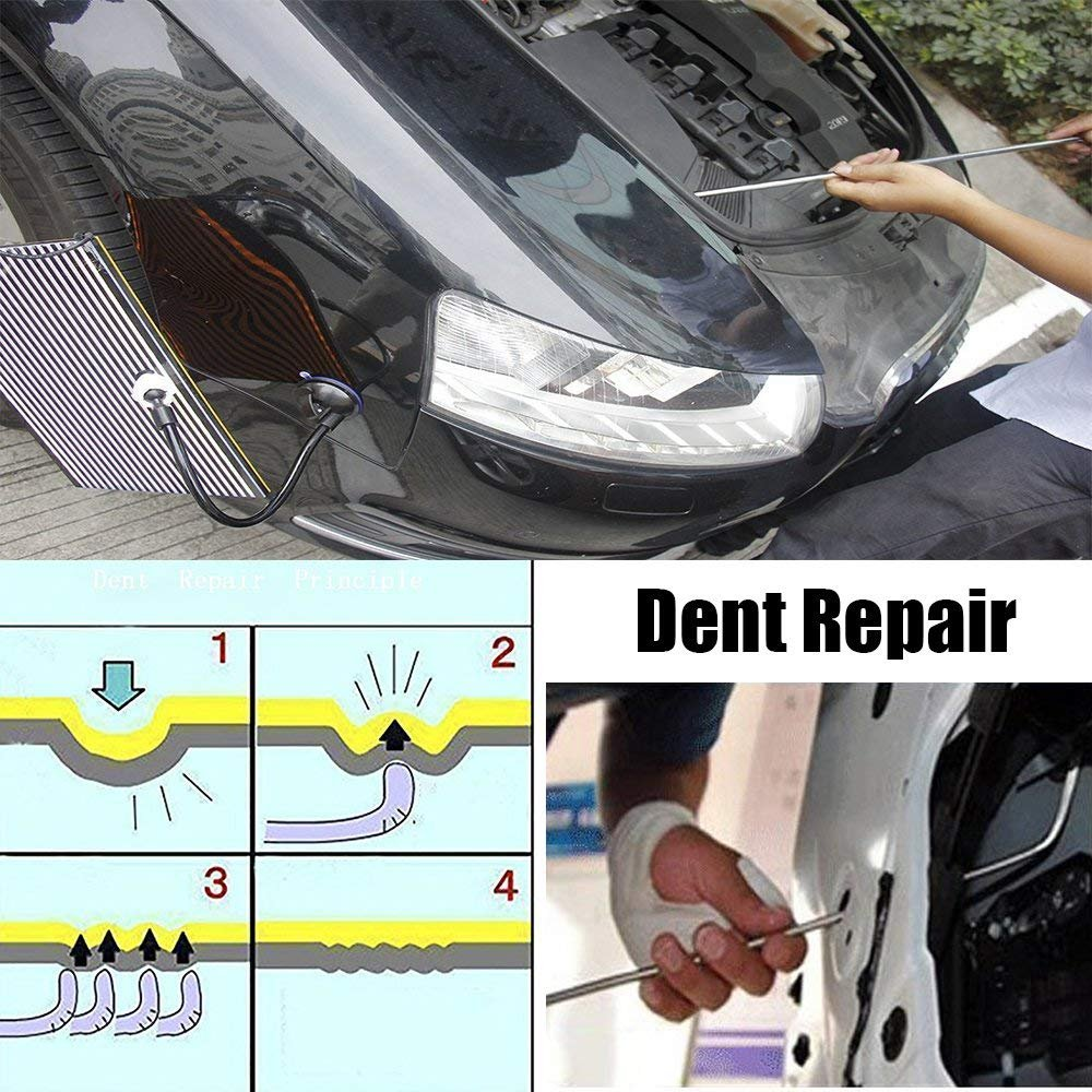 JMgist Rods Hand Tools Dent Repair Kit Paintless Dent Removal Puller Sets Car Hail Damage Door Dings Repair 6 Pieces Red Wedge