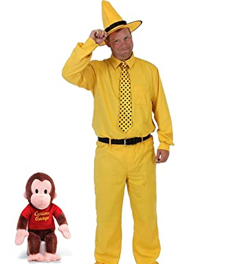 ebbac556142 Amazon.com: Curious George Man in The Yellow Hat Deluxe Costume Set (Adult  Large): Clothing