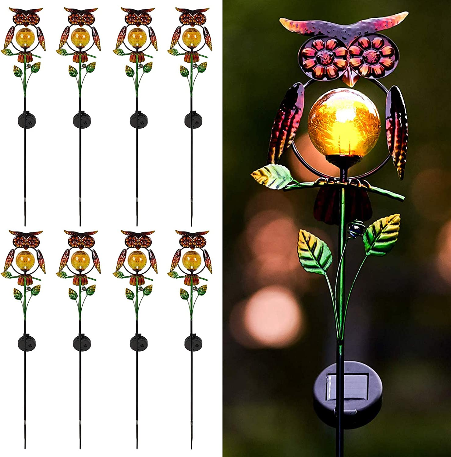 SA Products Solar Owl Stake Light Metal Build White LED Bulb 6-8H Battery Life Lighting Sensor Waterproof Solar Panel Yard Patio Outdoor Decorative Animal Lamp Ornament for Garden 1-Pack