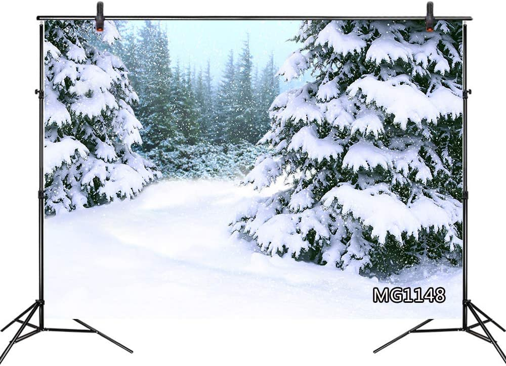 LB Winter Backdrops for Photography 10x8ft Forest Pine Tree Covered Heavy Snow New Year Photo Background Customized Photoshoot Props