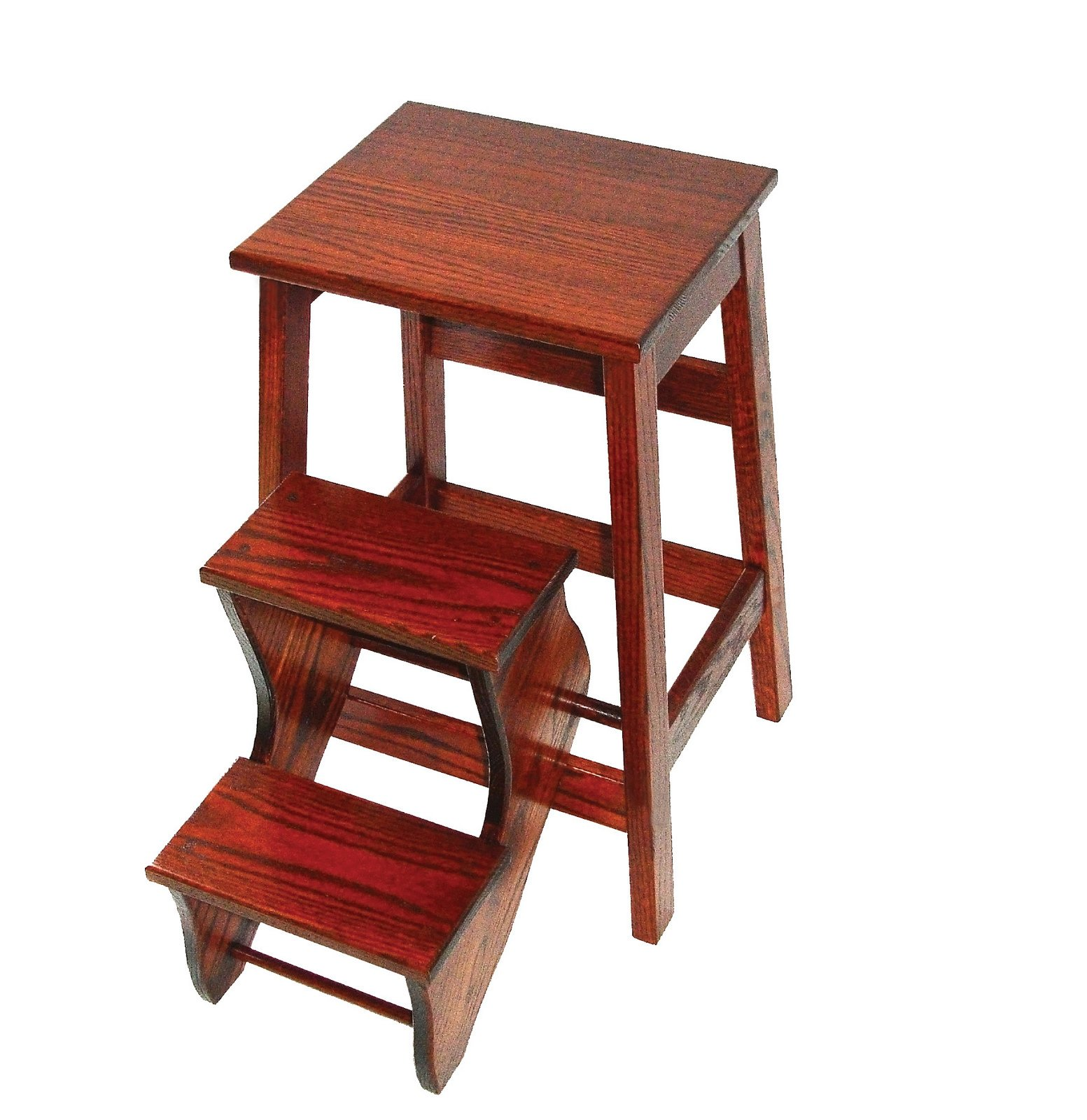 Counter Height Oak Stool with Flip Out Steps - Amish Made in USA