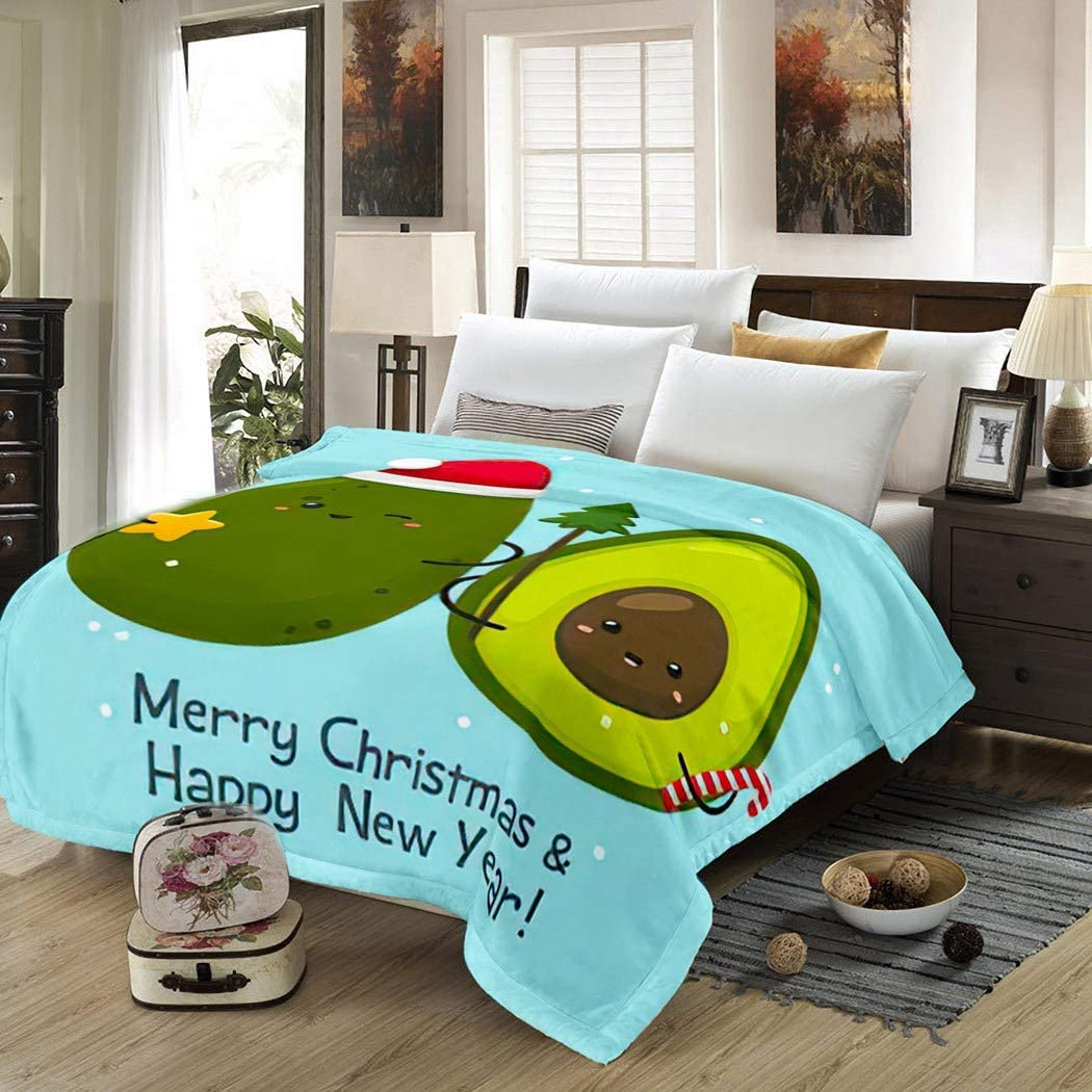 THE MINI CRUSH Avocado Poster Blanket,Plush and Warm Home Soft Cozy Portable Fuzzy Throw Blankets for Couch Bed Sofa,Christmas Cartoon Kawaii Chibi Food Avocado New Year Smile Cartoon,60