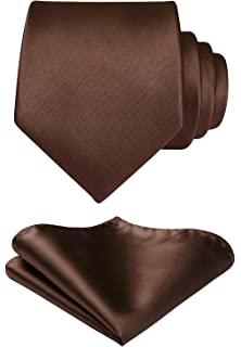cab66c2260f0 HISDERN Men's Solid Color Tie Handkerchief Wedding Party Classic Necktie &  Pocket Square Set-Multiple