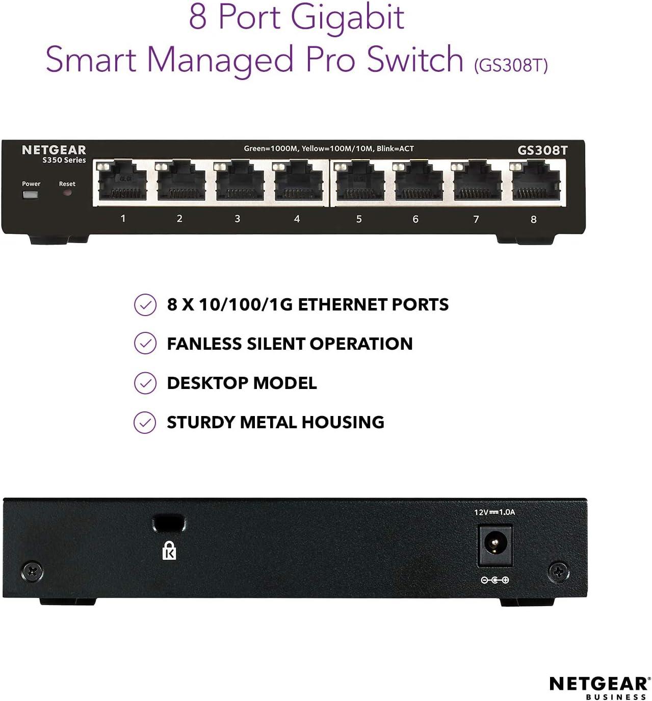 GS348T S350 Series Desktop//Rackmount NETGEAR 52-Port Gigabit Ethernet Smart Managed Pro Switch - with 4 x 1G SFP