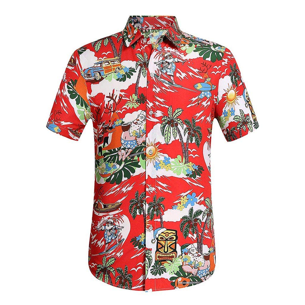 YOMXL Men's Hawaiian Top Summer Tropical Printed Button Down Shirt Casual Standard-Fit T-Shirt Short Sleeve Red by YOMXL