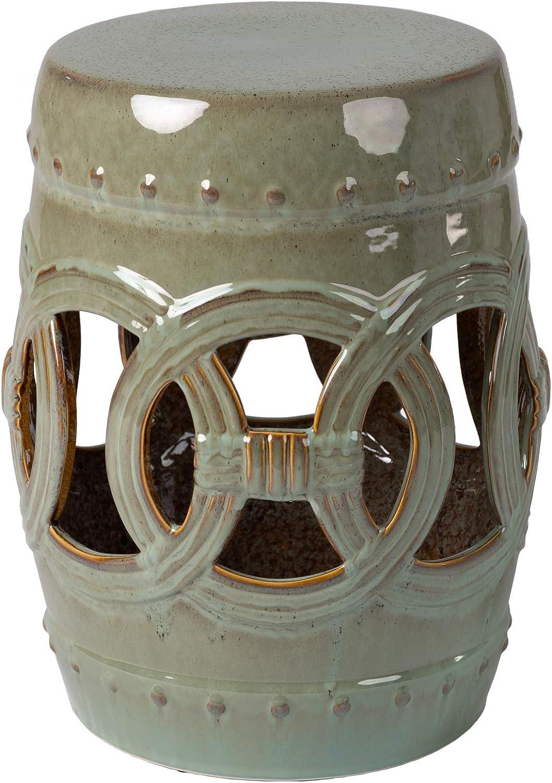 Patio Sense Large Medallion Ceramic Indoor/Outdoor Garden Stool, Side Sofa Table in Olive Jade (63614)