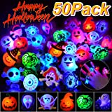 BUDI 50Pc Halloween Party Favors LED Flash Rings Halloween Gifts for Kids and Adults Halloween Treats Non Candy Gift Bag…