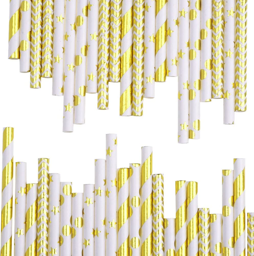 Celebration Parties Color B Christmas Wedding Paper Straws Drinking Decoration Straw for Birthday 100 Pieces