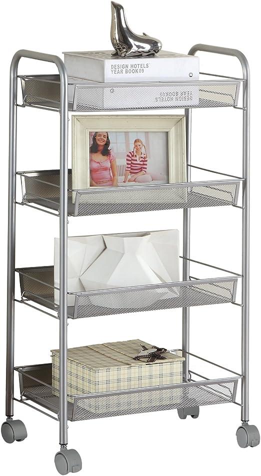 5-Tier Metal Mesh Rolling Cart for Kitchen Laundry Storage Rack Shelving Unit